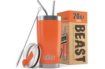 (590ml, Orange) - Beast 590ml Orange Tumbler - Stainless Steel Vacuum Insulated Coffee Ice Cup Double Wall Travel Flask
