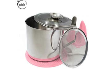 (Pink Silicone) - Eatelle Cooking Oil Container and Bacon Grease Keeper with Strainer, Stainless Steel Oil Storage Can - Fat Jar 1.2l - 5 Cups, Traditional Holder and Oil Separator + Pink Silicone Mitt and Mat