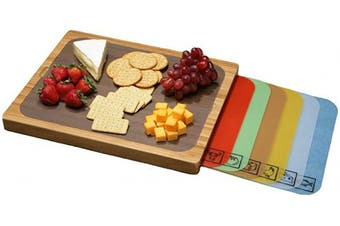 Seville Classics Easy-to-Clean Bamboo Cutting Board and 7 Colour-Coded Flexible Cutting Mats with Food Icons Set