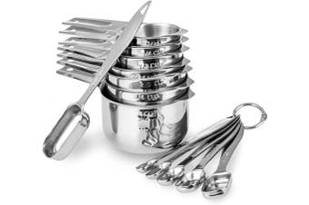 (13 Cups) - 13-piece Measuring Cups and Spoons Set, 18/8 Stainless Steel Heavy Duty Ergonomic Handle with Ring Connector