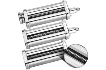 3-Piece Pasta Roller & Cutter Set Attachment for KitchenAid Stand Mixers,Stainless Steel Pasta Maker Accessory by Cofun