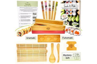 Sushi and Maki Making Kit from Grow Your Pantry - With Sushi Rolling Mat, Bamboo Maki Mould and Japanese Sauce Tray. Plus Chopsticks and Spreader Paddles. The Perfect Gift Set for Sushi Lovers.