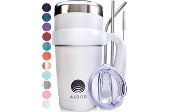 (1 Pack 590ml, White) - ALBOR Triple Insulated Stainless Steel Tumbler 590ml White Coffee Travel Mug With Handle