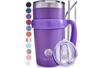 (1 Pack 590ml, Purple) - ALBOR Triple Insulated Stainless Steel Tumbler 590ml Purple Coffee Travel Mug With Handle