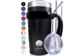 (1 Pack 590ml, Black) - ALBOR Triple Insulated Stainless Steel Tumbler 590ml Black Coffee Travel Mug With Handle