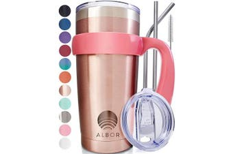(1 Pack 590ml, Rose Gold) - ALBOR Triple Insulated Stainless Steel Tumbler 590ml Rose Gold Coffee Travel Mug With Handle