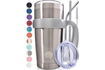 (1 Pack 590ml, Stainless Steel) - ALBOR Triple Insulated Stainless Steel Tumbler 590ml Stainless Steel Coffee Travel Mug With Handle