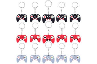 24 Pieces Video Game Controller Keychains Game Controller Handle Key Ring Pendant Charms for Video Game Party Favours Birthday, 3 Colours