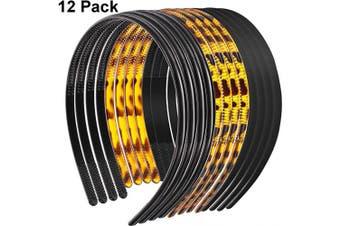 12 Pieces Plastic Teeth Headband Teeth Comb Headbands Skinny DIY Hair Bands Headbands for Women Girls, 3 Colours