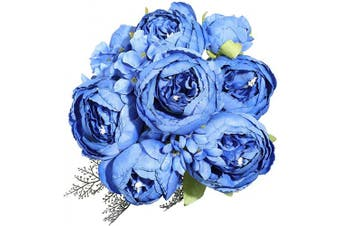 (Navy Blue) - Luyue Vintage Artificial Peony Silk Flowers Bouquet Home Wedding Decoration (Navy Blue)