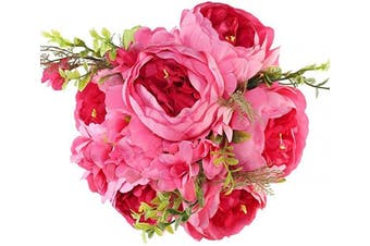 (Light Red) - Luyue Vintage Artificial Peony Silk Flowers Bouquet Home Wedding Decoration (Light Red)