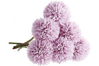 (6 Pcs, Purple) - CQURE Artificial Flowers, Fake Flowers Silk Plastic Artificial Hydrangea 6 Heads Bridal Wedding Bouquet for Home Garden Party Wedding Decoration 6Pcs (Purple)