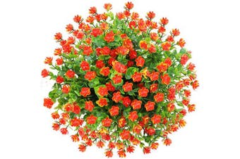(Orange Red) - CQURE Artificial Flowers, Fake Flowers Artificial Greenery Plants Eucalyptus Outdoor Bridal Wedding Bouquet for Home Garden Party Wedding Decoration 5 Bunch (Orange Red)