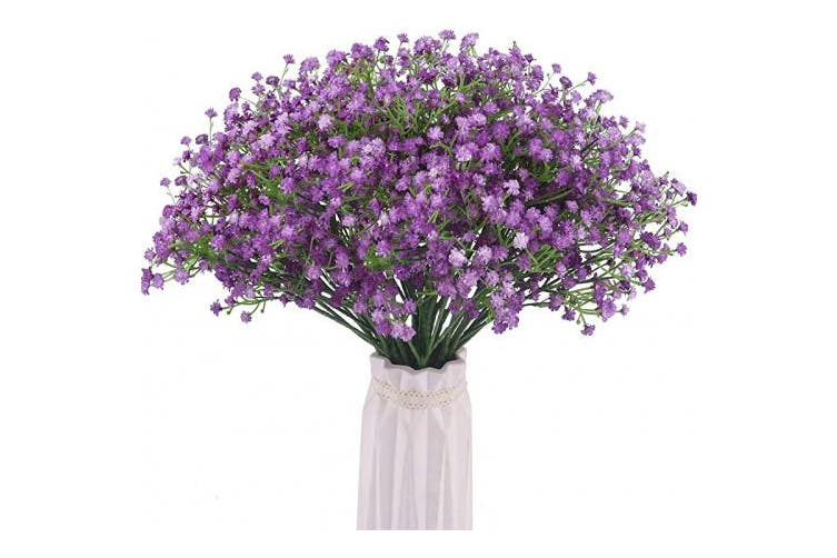 Purple Bomarolan Artificial Baby Breath Flowers Fake Gypsophila Bouquets 12 Pcs Fake Real Touch Flowers For Wedding Decor Diy Home Party Purple Matt Blatt