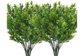 (Leaves Grass-green-8 Pcs) - CATTREE Artificial Plants, Fake Grass Plastic Leaves Shrubs Simulation Greenery Bushes Indoor Outdoor Home Garden Office Yard Verandah Wedding Decoration - Green 8 Pcs