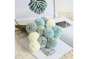 (6 Pcs, Green) - CQURE Artificial Flowers, Fake Flowers Silk Plastic Artificial Hydrangea 6 Heads Bridal Wedding Bouquet for Home Garden Party Wedding Decoration 6Pcs (Green)