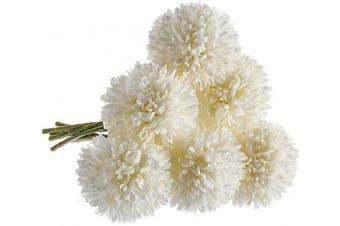 (6 Pcs, White) - CQURE Artificial Flowers, Fake Flowers Silk Plastic Artificial Hydrangea 6 Heads Bridal Wedding Bouquet for Home Garden Party Wedding Decoration 6Pcs (White)