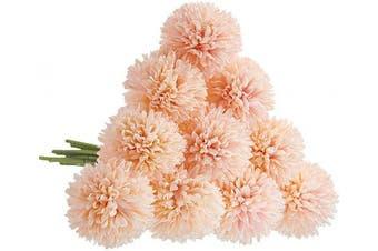 (10 Pcs, Pink-champagne) - CQURE Artificial Flowers, Fake Flowers Silk Plastic Artificial Hydrangea 10 Heads Bridal Wedding Bouquet for Home Garden Party Wedding Decoration 10Pcs (Pink Champagne)