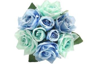 (1 bunch, Blue) - CQURE Artificial Fake Flowers Silk Plastic Artificial Roses 9 Heads Bridal Wedding Bouquet for Home Garden Party Wedding Decoration (Blue)