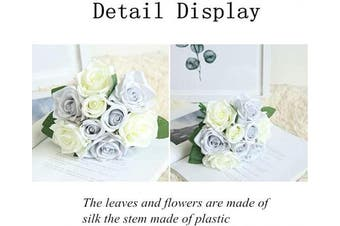(2 bunches, White&blue) - CQURE Artificial Flowers, Fake Flowers Silk Plastic Artificial Roses 18 Heads Bridal Wedding Bouquet for Home Garden Party Wedding Decoration (White & Blue×2)