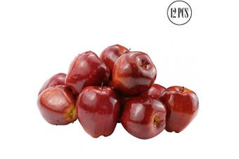BcPowr 12PCS Fake Fruit Apples Artificial Deep Red Apples Artificial Lifelike Simulation Red Apples Fake Fruit Home House Display Decoration for Still Life Paintings Kitchen Decor (Red, 8cm x 9cm )