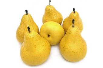 (Yellow) - J-Rijzen 6pcs Fake Pear Artificial Fruits Vivid Yellow Pear for Home Fruit Shop Supermarket Desk Office Restaurant Decorations Or Props (Yellow)