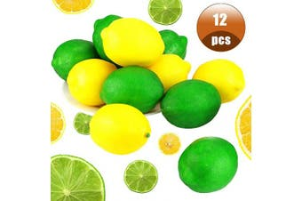 BcPowr 12PCS Yellow & Green Fake Lemon,Artificial Fruit Lemon Artificial Lifelike Simulation Lemon Fake Fruit Home Display Decoration for Still Life Paintings,Storefront Decoration,6.4cm x 9.7cm