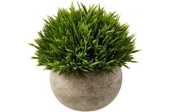 (Green Grass) - Ogrmar Mini Plastic Artificial Plants Grass in Pot/Small Artificial Faux Greenery/Mini Plants Topiary Shrubs Fake Plants for Bathroom, House Decorations (Green Grass)