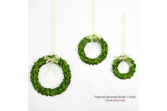 (Boxwood round set / 3, Mini Wreath Packs) - BoxwoodValley Preserved Boxwood Wreath Mini Wreath Set of 3 S-M-L, Door Wall Hanging Window Wedding Party Decoration (15cm -20cm -25cm )