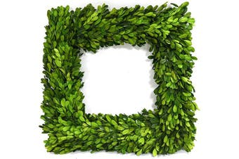 (36cm , Square Wreath) - Nature Original Boxwood Wreath Square Shape Well Preserved Boxwood Wreath Home Decoration for Indoors, Window, Wedding Summer Farmhouse Style Decor(Square Wreath, 36cm )
