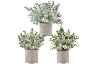 (3, Green) - Hamore Artificial Eucalyptus Plants Green Rosemary Plants Mini Potted Artificial Potted Plants and Flowers Artificial Rosemary Plants in Grey Pot for Home Office Desk Shower Room Decor, Set of 3