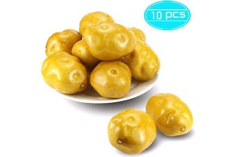 BcPowr 10PCS Fake Artificial Vegetables Potatoes Artificial Lifelike Simulation Potato Fake Vegetables Home House Display Decoration for Still Life Paintings Kitchen Decor (Yellow, 9.4cm x 5cm )