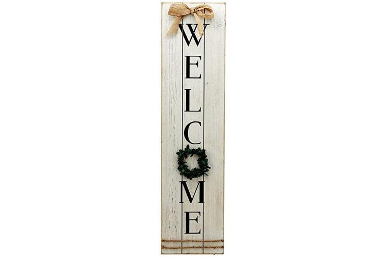 Dick Smith Welcome Parisloft Vertical Wooden Welcome Sign Plaque With Wreath Wall Hanging Decor Large Farmhouse Decor For Entryway Front Door Plaques Signs Home Garden Home Decor