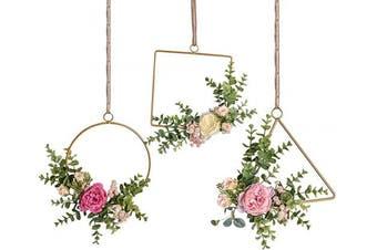 (Floral Hoop Set of 3 - D) - Pauwer Floral Hoop Wreath Set of 3 Handcrafted Artificial Rose Flower and Eucalyptus Greenery Leaves Metal Hanging Hoop Wreath for Wedding Backdrop Nursery Decor