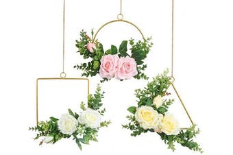 (Floral Hoop Set of 3) - Pauwer Floral Hoop Wreath Set of 3 Artificial Rose Flower and Eucalyptus Vine Wreath for Wedding Backdrop Wall Decor