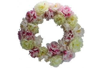 (Pink Peony) - Admired By Nature ABN1W001-NTRL Artificial 60cm Wreath, Pink Peony