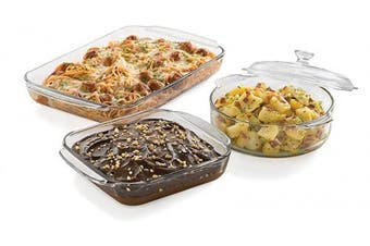(3-Piece Dish Set w/ Cover) - Libbey Baker's Basics 3-Piece Glass Casserole Baking Dish Set with 1 Cover