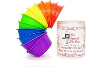 The Sweet Baker | Jumbo Silicone Baking Cups | Premium 12 Piece Set | Reusable Muffin Cupcake Pans | BPA Free