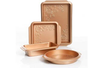 (4-Piece, Copper) - Gibson 112020.04 Country Kitchen 4 pc Embossed Nonstick Bakeware Set, 4-Piece, Copper