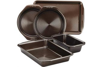 (5 Piece, Chocolate Brown) - Circulon 46015 Nonstick Bakeware Set with Nonstick Cookie Sheet, Bread Pan, Bakings Pan and Cake Pans - 5 Piece, Chocolate Brown