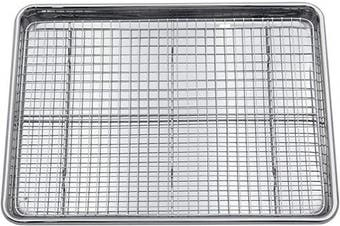 (Half Pan & Rack) - Chequered Chef Stainless Steel Baking Sheet With Rack - Heavy Duty Warp ResistantHalf Sheet Pan for Baking with Oven Safe Baking/Cooling Rack