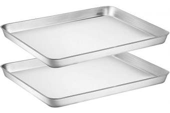 Wildone Baking Sheet Set of 2 - Stainless Steel Cookie Sheet Baking Pan, Size 16 x 30cm x 2.5cm , Non Toxic & Heavy Duty & Mirror Finish & Rust Free & Easy Clean