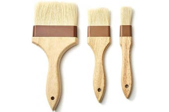 (2.5cm , 5.1cm , 10cm ) - Pro Grade, Real Wood 5.1cm Boar Bristle Pastry Brush. Best Kitchen and Grill Brushes to Baste and Glaze Meat, Spread Butter and Marinade, or Mop BBQ Sauce. Chef Quality Cooking, Baking or Grilling Tools