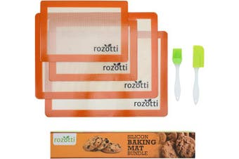 ((1) 6-Piece Set) - Rozotti Silicone Baking Mat Bundle (6-Piece Set) 2 Half Sheets Silicone Baking Mat and 1.9ler Sheets Silicone Baking Mat, Silicone Baking Brush, Silicone Baking Spatula | Non-Stick, Heat-Resistant