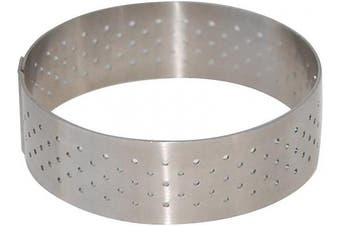 (1.9cm  High, Silver) - PERFORATED TART RING, Round, in Stainless Steel, 1.9cm high, O 8.9cm