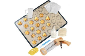 Cookie Press Gun Kit for Cookies Biscuit Churro Maker, Cookie Press with Macaroon Baking Mat Sheet, 6 Icing Tips, 16 Cookie Moulds, 200 Self-Adhesive Cookie Bags, Measuring Cup, Cleaning Brush