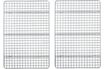 (25cm  x 38cm  Rack Set) - Chequered Chef Cooling Racks For Baking - 25cm x 38cm - Stainless Steel Cooling Rack/Baking Rack Set of 2 - Oven Safe Wire Racks Fit Jelly Roll Pan - Small Grid Perfect To Cool and Bake