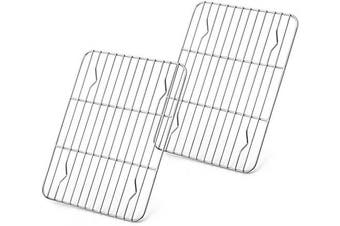 (22cm  x 16cm ) - Baking Rack Set of 2, E-far Stainless Steel Metal Roasting Cooking Racks, Size - 22cm x 16cm , Non Toxic & Rust Free, Fit for Small Toaster Oven, Dishwasher Safe