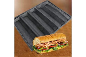 Silicone Perforated Baking Forms Sandwich Mould French Baguette Bread Pan Dog Food Mat 5 Loaf Non-Stick Baking Liners