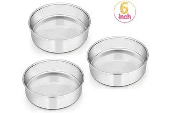 (15cm (Set of 3)) - 15cm Cake Pan Set of 3, E-far Stainless Steel Round Smash Cake Baking Pans, Non-Toxic & Healthy, Mirror Finish & Dishwasher Safe